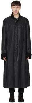 Haider Ackermann Black Waxed Overcoat