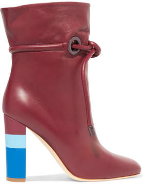 Malone Souliers Roksanda Dolly Drawstring Leather Ankle Boots - Burgundy
