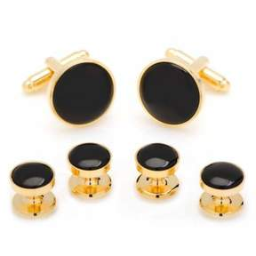 Bed Bath & Beyond Gold and Onyx Stud Set