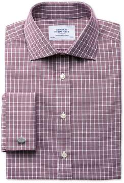 Charles Tyrwhitt Slim Fit Prince Of Wales Basketweave Berry Cotton Dress Shirt French Cuff Size 14.5/32