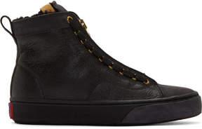 Visvim Black Leather Skagway Hi-Folk Sneakers