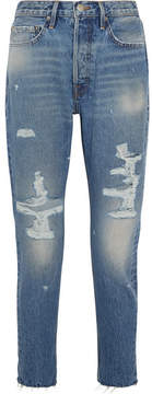 Frame Rigid Re-release Le Original Skinny Distressed High-rise Jeans - Mid denim