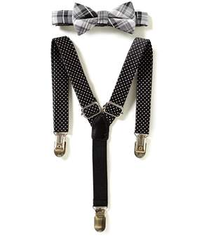 Starting Out Baby Boys Plaid Bow Tie & Suspender Set