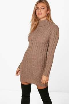 boohoo Lottie Cable Knit Jumper Dress