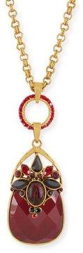 Jose & Maria Barrera Burgundy Crystal Pendant Necklace