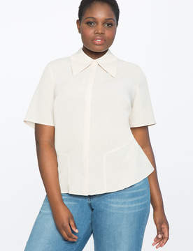 ELOQUII Peplum Button Down Shirt