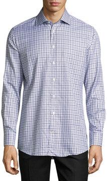 Luciano Barbera Plaid Cotton Sport Shirt, Gray