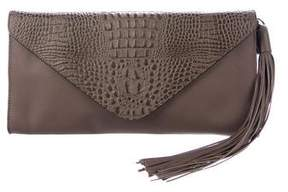Carlos Falchi Embossed Leather Flap Clutch