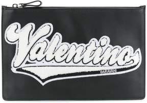 Valentino logo appliqued clutch