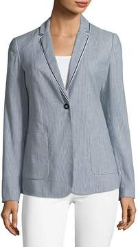 T Tahari Women's Striped Linen-Blend Blazer with Trim