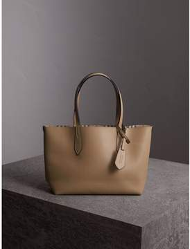 Burberry The Small Reversible Tote in Haymarket Check and Leather