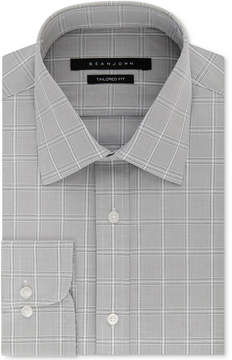 Sean John Men's Classic/Regular Fit Gray Check Dress Shirt