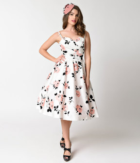Stop Staring 1950s Style White & Pink Rose Print Swing Dress