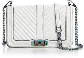 Rebecca Minkoff Chevron Quilted Love Leather Crossbody - WHITE/IRIDESCENT - STYLE