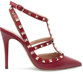 Valentino Rockstud Textured-leather Pumps - Crimson