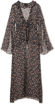 Anna Sui Lilies Of The Valley Printed Silk-chiffon Robe - Black
