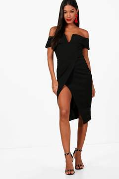 boohoo Claire Off the Shoulder Wrap Skirt Midi Dress