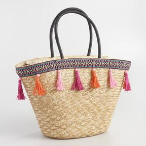 World Market Tassel Basket Tote