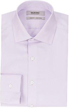 Murano Non-Iron Slim-Fit Spread-Collar Solid Textured Herringbone Dress Shirt