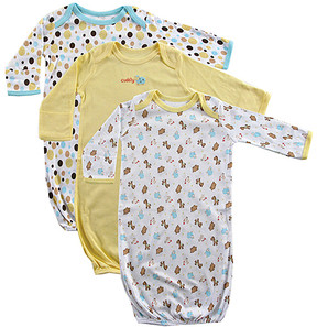 Luvable Friends Yellow Dot & Animal Print Rib Knit Gown Set - Newborn