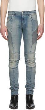 Pierre Balmain Blue Light Washed Biker Jeans