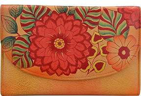 Anuschka Anna by Hand Painted Leather | Large Three Fold Checkbook Wallet/Clutch |