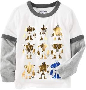 Osh Kosh Oshkosh Bgosh Toddler Boy Robot Mock-Layered Graphic Tee