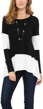 Celeste Black & White Color Block Sidetail Tunic - Women