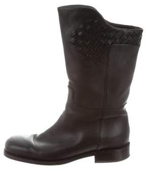 Bottega Veneta Intrecciato Leather Ankle Boots