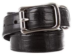 Ralph Lauren Silver-Tone Buckle Alligator Belt