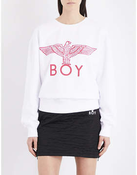 Boy London Ladies White Round Classic Eagle Cotton-Jersey Sweatshirt