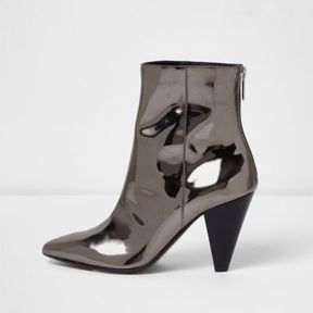 River Island Womens Silver patent cone heel boots