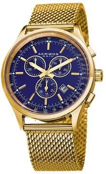 Akribos XXIV Blue Dial Chronograph Gold-Tone Men's Watch