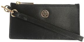 Tory Burch Leather Zip Up Wallet - BLACK - STYLE