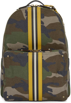 Valentino Green Garavani Camo Canvas Backpack