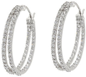 Diamonique 1.45 cttw 1 Double Hoop Earrings, Sterling