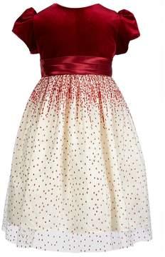 Jayne Copeland Little Girls 2T-6X Velvet Glitter-Mesh Dress
