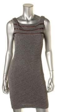 Calvin Klein Women's Metallic Pintucked Sleeveless Dress (6, Gunmetal)