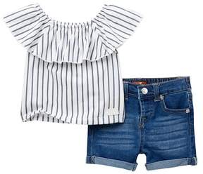 7 For All Mankind Off-the-Shoulder Tee & Shorts Set (Baby Girls)