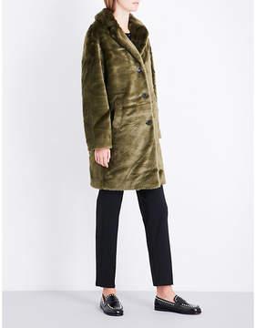 Claudie Pierlot Ladies Khaki Notch-Lapel Faux-Fur Coat