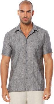 Cubavera Slim Fit 100% Linen Short Sleeve Tucks 2 Pocket Shirt