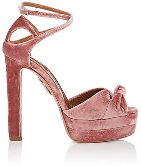 Aquazzura Women's Harlow Plateau Velvet Sandals