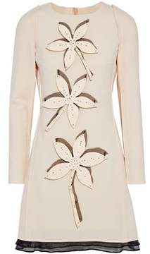 Carolina Herrera Appliquéd Organza-Trimmed Wool-Blend Mini Dress