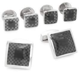 Tateossian Check Cuff Links and Shirt Stud Set