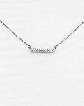 Adina 14K White Gold Pavé Diamond Bar Necklace, 15
