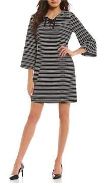 Isaac Mizrahi Imnyc IMNYC Lace Up Neck Full Sleeve Shift Dress