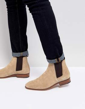 Asos Chelsea Boots In Stone Suede With Emboss And Natural Sole