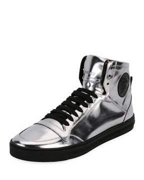 Versace Men's Metallic Leather High-Top Sneakers, Silver