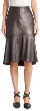 Brunello Cucinelli Tulip Metallic Leather Skirt