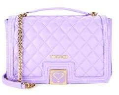 Love Moschino Quilted Flap Faux Leather Shoulder Bag